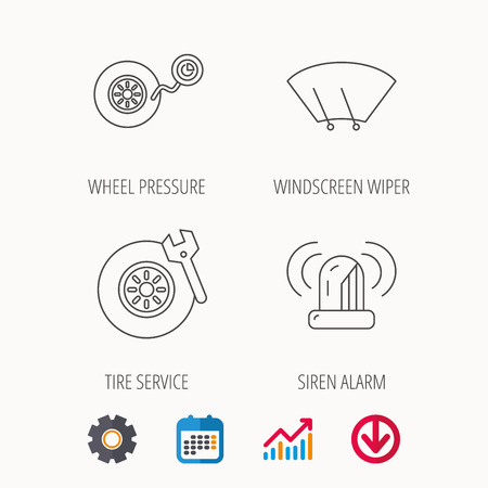 Wheel pressure, tire service and siren alarm icons. Car repair service station linear sign. Calendar, Graph chart and Cogwheel signs. Download colored web icon. Vector Vectores