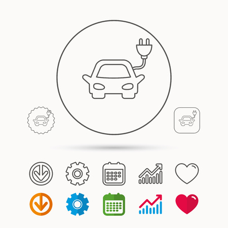 Electric car icon. Hybrid auto transport sign. Calendar, Graph chart and Cogwheel signs. Download and Heart love linear web icons. Vector