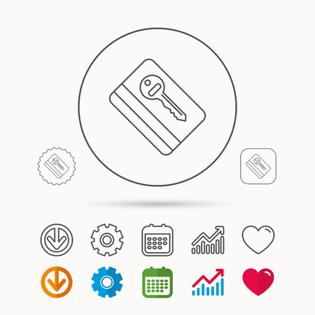 Electronic key icon. Hotel room card sign. Unlock chip symbol. Calendar, Graph chart and Cogwheel signs. Download and Heart love linear web icons. Vector