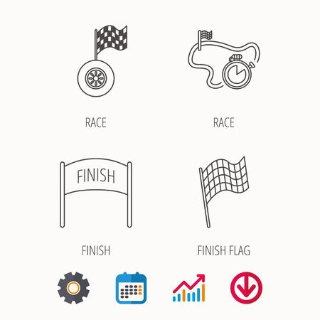 Finish flag, race timer and wheel icons. Race track linear sign. Calendar, Graph chart and Cogwheel signs. Download colored web icon. Vector Illustration