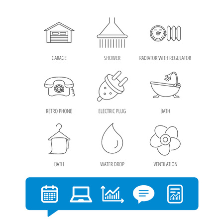 Ventilation, heat radiator and electric plug. Retro phone, shower and garage linear signs. Water drop, bath towel icons. Report file, Graph chart and Chat speech bubble signs. Vector