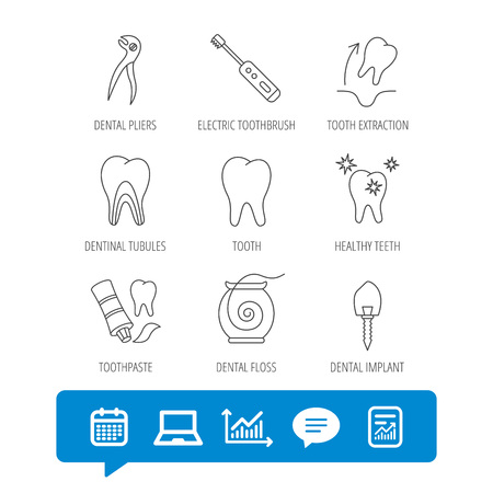 Tooth extraction, electric toothbrush icons. Dental implant, floss and dentinal tubules linear signs. Toothpaste icon. Report file, Graph chart and Chat speech bubble signs. Vector