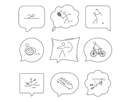 Swimming, tennis and golf icons. Biking, diving and gymnastics linear signs. Archery, boating and bobsleigh icons. Linear Speech bubbles with icons set. Comic chat balloon. Vector