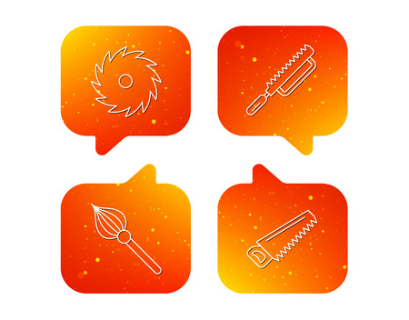 Fretsaw and repair tools icons. Circular saw and brush linear signs. Orange Speech bubbles with icons set. Soft color gradient chat symbols vector. Illusztráció