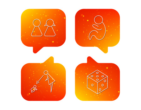Couple, paediatrics and dice icons. Under supervision linear sign. Orange Speech bubbles with icons set. Soft color gradient chat symbols. Vector
