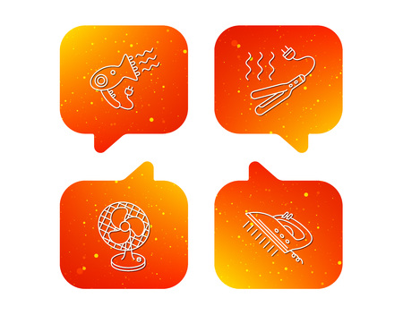 Steam ironing, curling iron and hairdryer icons. Ventilator linear sign. Orange Speech bubbles with icons set. Soft color gradient chat symbols. Vector