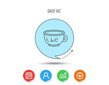 Baby wc pot icon. Child toilet sign. Washroom or lavatory symbol. Calendar, User and Business Chart, Download arrow icons. Speech bubbles with flat signs. Vector