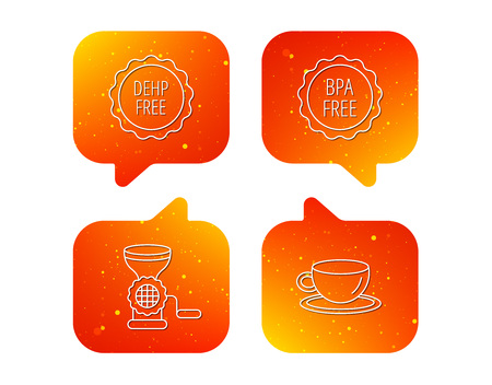Coffee cup, meat grinder and BPA free icons. DEHP free linear sign. Orange Speech bubbles with icons set. Soft color gradient chat symbols. Vector Illustration