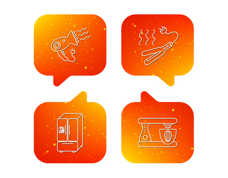 Curling iron, hair dryer and blender icons. American style fridge linear sign. Orange Speech bubbles with icons set. Soft color gradient chat symbols. Vector