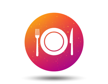 Dish, fork and knife icons. Cutlery symbol. Circle button with Soft color gradient background. Vector Illustration