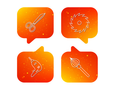 Scissors, drill and repair tools icons. Circular saw and brush linear signs. Orange Speech bubbles with icons set. Soft color gradient chat symbols. Vector Illusztráció