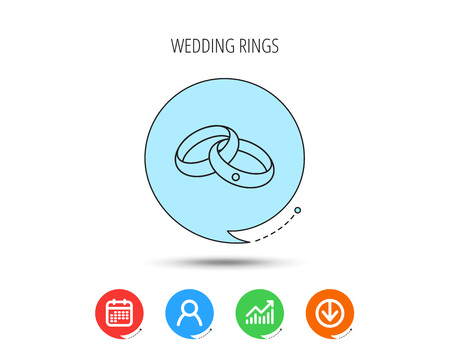 Wedding rings icon. Bride and groom jewelery sign. Calendar, User and Business Chart, Download arrow icons. Speech bubbles with flat signs. Vector