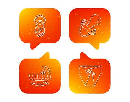 Pacifier, newborn and diapers icons. Cradle bed linear sign. Orange Speech bubbles with icons set. Soft color gradient chat symbols. Vector Illustration