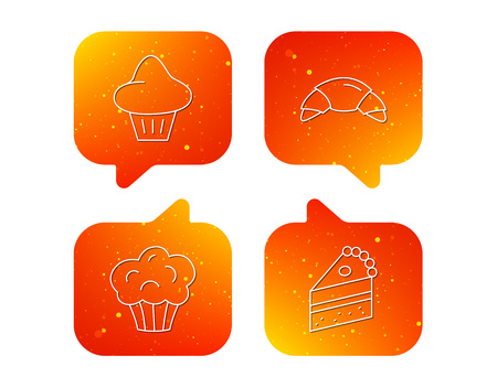 Croissant, brioche and piece of cake icons. Sweet muffin linear sign. Orange Speech bubbles with icons set. Soft color gradient chat symbols. Vector