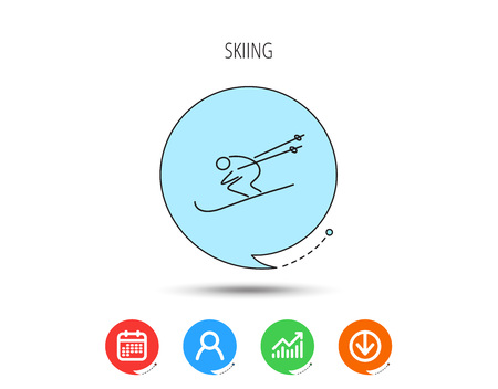 Skiing icon. Skis jumping extreme sport sign. Speed competition symbol. Calendar, User and Business Chart, Download arrow icons. Speech bubbles with flat signs. Vector Vettoriali