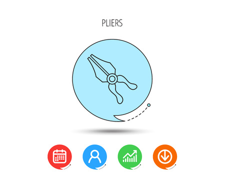 Pliers icon. Repairing fix tool sign. Calendar, User and Business Chart, Download arrow icons. Speech bubbles with flat signs. Vector
