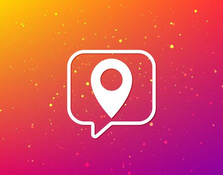 Location icon. Map pointer symbol. Soft color gradient background. Speech bubble with flat icon. Vector