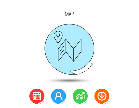 Map icon. GPS navigation with pin sign. Calendar, User and Business Chart, Download arrow icons. Speech bubbles with flat signs. Vector