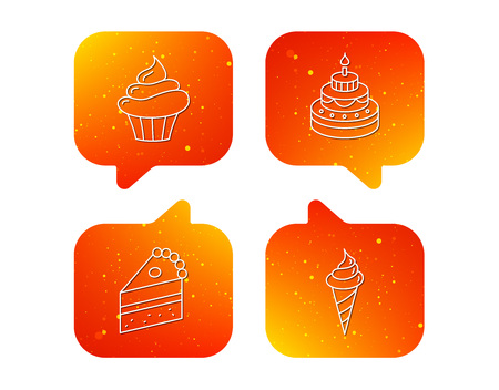 Cake, cupcake and ice cream icons. Piece of cake linear sign. Orange Speech bubbles with icons set. Soft color gradient chat symbols.
