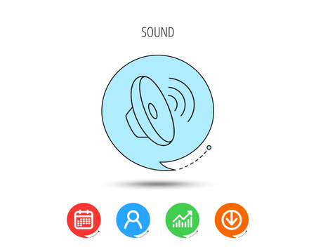 Sound waves icon. Audio speaker sign. Music symbol. Calendar, User and Business Chart, Download arrow icons. Speech bubbles with flat signs. Vector Illustration