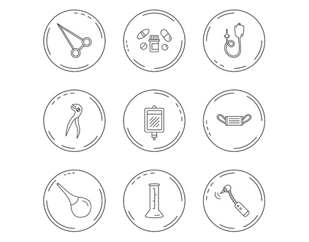 Medical mask, blood and dental pliers icons. Pills, drilling tool and clyster linear signs. Enema, lab beaker and forceps flat line icons. Linear Circles web buttons with icons. Vector