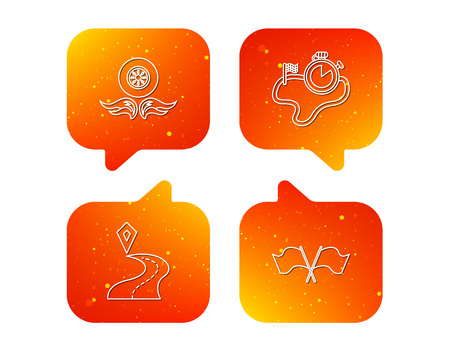 Race flags, timer and destination pointer icons. Wheel on fire linear sign. Orange Speech bubbles with icons set. Soft color gradient chat symbols. Vector