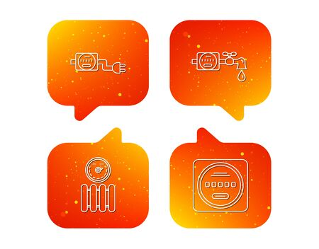 Electricity, radiator and water counter icons. Counter linear sign. Orange Speech bubbles with icons set. Soft color gradient chat symbols. Vector Vectores
