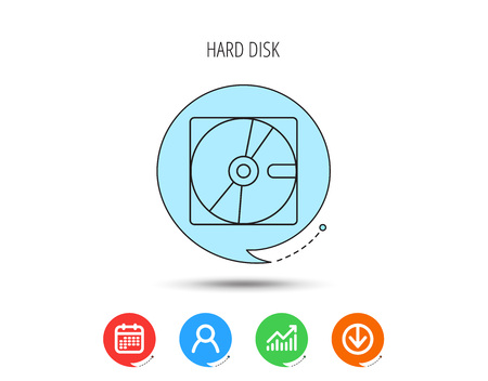 Harddisk icon. Hard drive storage sign. Calendar, User and Business Chart, Download arrow icons. Speech bubbles with flat signs.