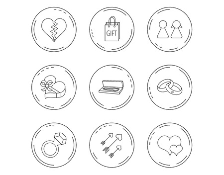 Love heart, gift box and wedding rings icons. Broken heart and couple linear signs. Valentine amour arrows flat line icons. Linear Circles web buttons with icons. Vector