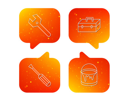 Wrench key, screwdriver and paint bucket icons. Toolbox linear sign. Orange Speech bubbles with icons set. Soft color gradient chat symbols.