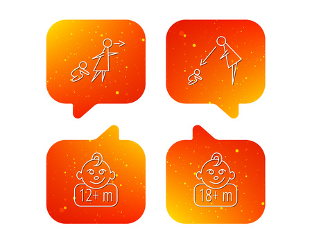 Unattended, parents supervision and 12 months child icons. 18+ months child linear sign. Orange Speech bubbles with icons set. Soft color gradient chat symbols. Vector
