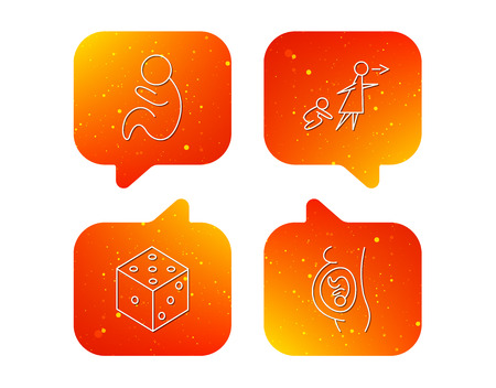Pregnancy, paediatrics and dice icons. Unattended linear sign. Orange Speech bubbles with icons set. Soft color gradient chat symbols. Vector