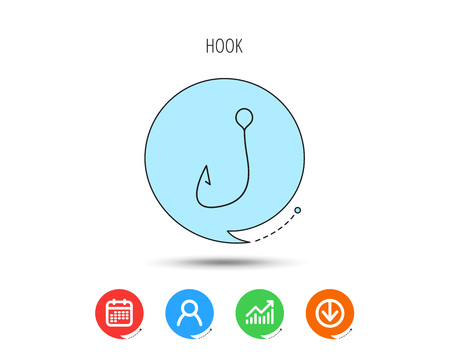 Fishing hook icon. Fisherman equipment sign. Angling symbol. Calendar, User and Business Chart, Download arrow icons. Speech bubbles with flat signs. Vector