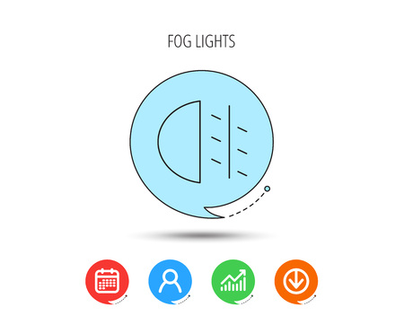 Fog lights icon. Car beam sign. Calendar, User and Business Chart, Download arrow icons. Speech bubbles with flat signs. Vector