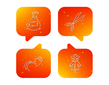Scissors, watering can and watering can icons. Bag of fertilizer linear sign. Orange Speech bubbles with icons set. Soft color gradient chat symbols. Vector