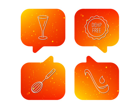 Soup ladle, glass and whisk icons. DEHP free linear sign. Orange Speech bubbles with icons set. Soft color gradient chat symbols. Vector