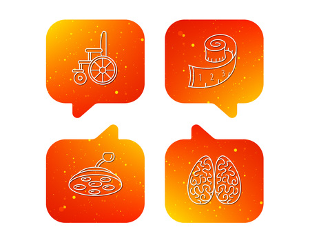 Wheelchair, neurology and weight loss icons. Surgical lamp linear sign. Orange Speech bubbles with icons set. Soft color gradient chat symbols. Vector