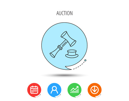 Auction hammer icon. Justice and law sign. Calendar, User and Business Chart, Download arrow icons. Speech bubbles with flat signs. Vector
