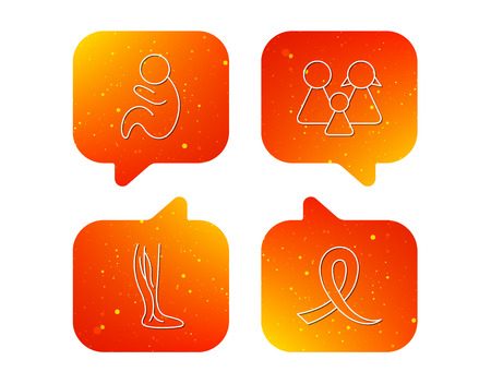 Family, pediatrics and phlebology icons. Oncology awareness ribbon linear sign. Orange Speech bubbles with icons set. Soft color gradient chat symbols. Vector Illustration