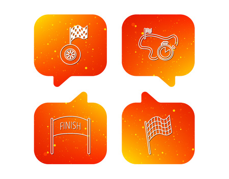 Finish flag, race timer and wheel icons. Race track linear sign. Orange Speech bubbles with icons set. Soft color gradient chat symbols. Vector Illustration