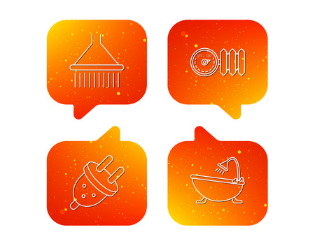 Shower, bath and electric plug icons. Radiator with regulator linear sign. Orange Speech bubbles with icons set. Soft color gradient chat symbols. Vector
