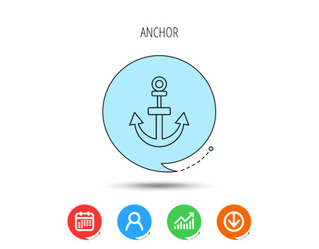 Anchor icon. Nautical drogue sign. Sea and sailing symbol. Calendar, User and Business Chart, Download arrow icons. Speech bubbles with flat signs. Vector Vettoriali