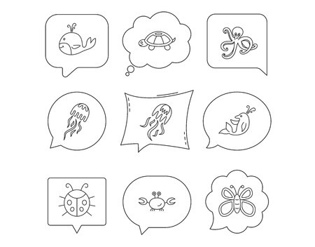 octopus turtle and dolphin icons jellyfish whale and ladybug