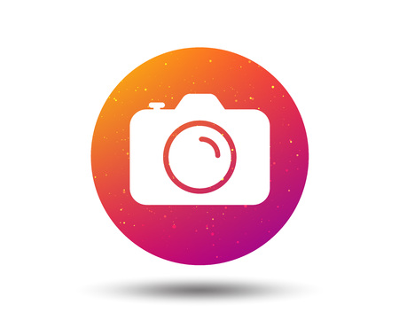 Camera icon. Professional photocamera symbol. Circle button with Soft color gradient background. Vector Illustration