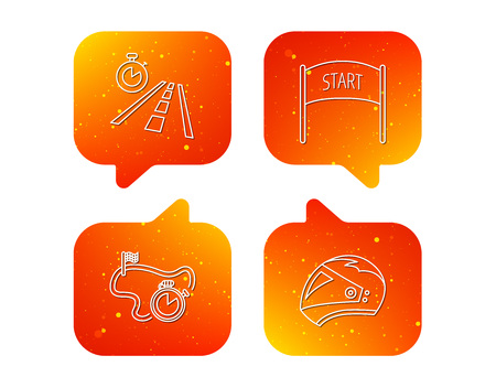 Motorcycle helmet, race timer and travel time icons. Start race linear sign. Orange Speech bubbles with icons set. Soft color gradient chat symbols. Vector