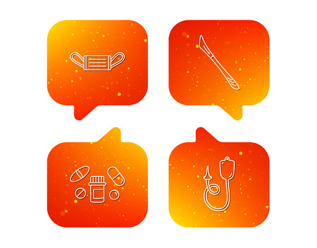 Medical mask, pills and scalpel icons. Enema linear sign. Orange Speech bubbles with icons set. Soft color gradient chat symbols. Vector Illustration