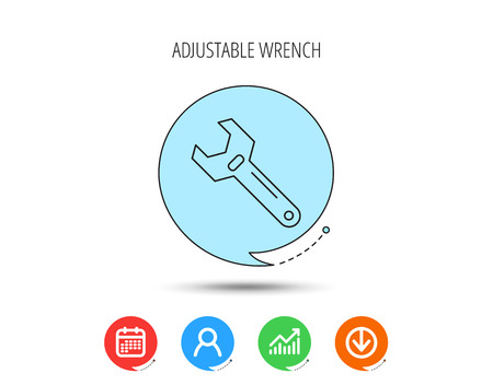 Wrench key icon. Adjustable repair tool sign. Calendar, User and Business Chart, Download arrow icons. Speech bubbles with flat signs. Vector