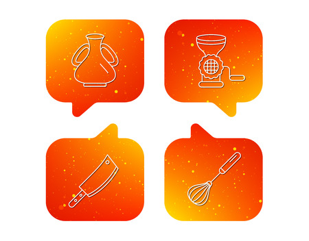 Meat grinder, butcher knife and whisk icons. Vase linear sign. Orange Speech bubbles with icons set. Soft color gradient chat symbols. Vector Illustration