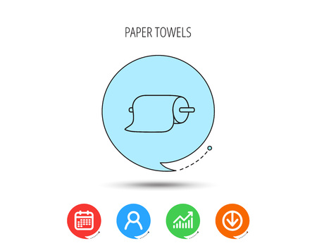 Paper towels icon. Kitchen hygiene sign. Calendar, User and Business Chart, Download arrow icons. Speech bubbles with flat signs. Vector Çizim