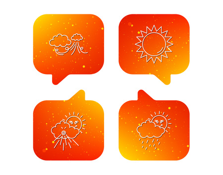 Weather, strong wind and rainy day icons. Sun linear sign. Orange Speech bubbles with icons set. Soft color gradient chat symbols. Vector Çizim
